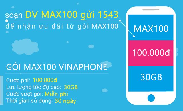 Miễn phí 30GB data tốc độ cao khi đăng ký gói cước MAX100 Vinaphone