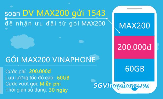 Đăng ký gói cước MAX200 Vinaphone miễn phí 4G/5G cả tháng