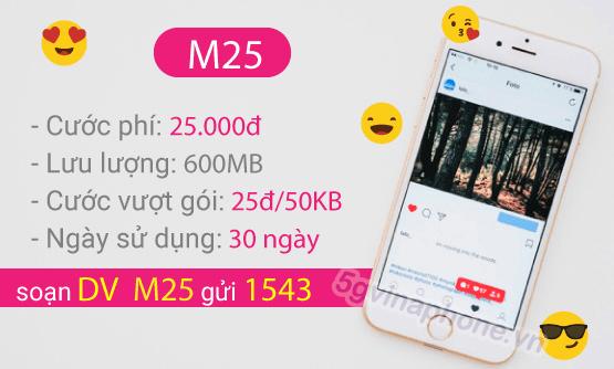 Thông tin chi tiết về gói cước M25 của Vinaphone
