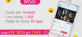 Đăng ký gói cước M50 Vinaphone miễn phí data cả tháng chỉ với 50k