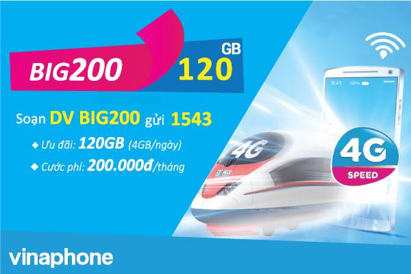 Đăng ký gói cước BIG200 Vinaphone ưu đãi 120GB data cả tháng