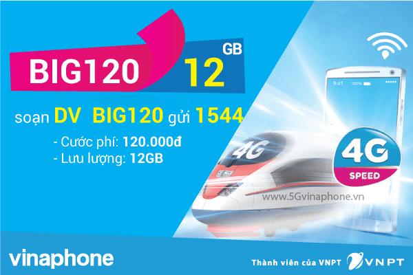 Đăng ký gói cước BIG120 của Vinaphone miễn phí 12GB data cả tháng