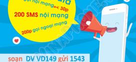 Đăng ký gói cước VD149 Vinaphone ưu đãi 120GB + SMS, Gọi thả ga