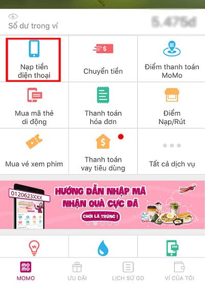 Làm thế nào để nạp tiền vinaphone bằng ví điện tử Momo?