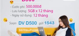 Đăng ký gói cước D500 Vinaphone tặng 60GB data MIỄN PHÍ CẢ NĂM