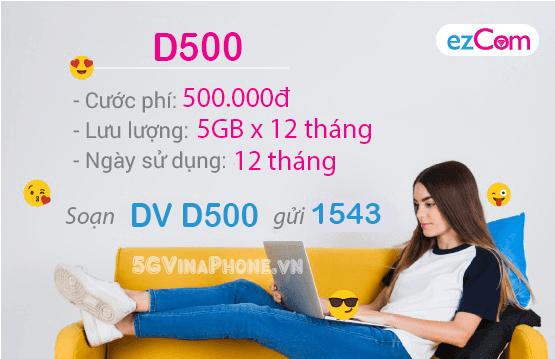Hướng dẫn đăng ký gói cước D500 Vinaphone cho thuê bao Ezcom vinaphone
