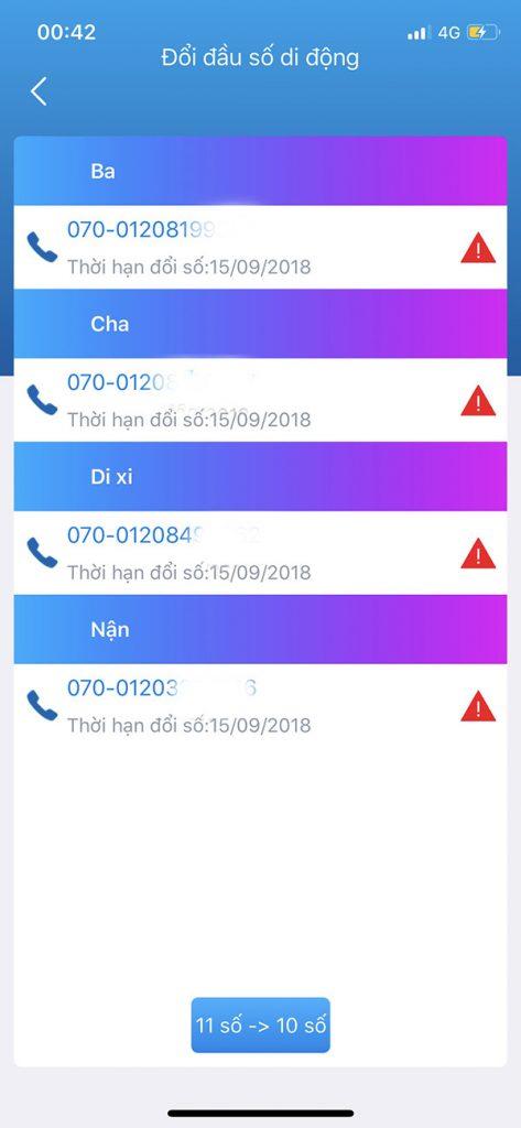 Chuyển đổi danh bạ sim 11 số sang sim 10 số tại nhà trên MY VNPT