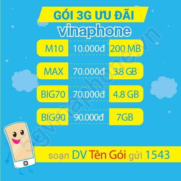 Cách đăng ký gói cước 3G Vinaphone trọn gói không giới hạn dung lượng