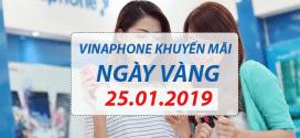Vinaphone khuyến mãi ngày 25/1/2019 tặng 20% tiền nạp NGÀY VÀNG