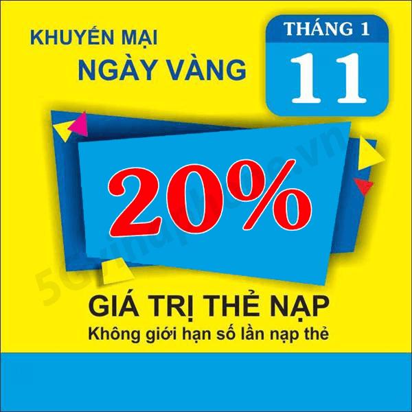 Khuyến mãi của Vinaphone 11/1 ưu đãi 20% tiền nạp toàn quốc