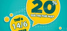Khuyến mãi Vinaphone ngày 14/6/2019 tặng 20% giá trị nạp tiền bất kỳ