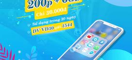Đăng ký gói cước VD30 Vinaphone miễn phí 200p gọi và 6GB data