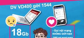 Đăng ký gói cước VD400 Vinaphone MIỄN PHÍ gọi, SMS, 18GB data