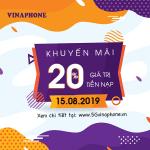 Vinaphone khuyến mãi ngày 15/8/2019 ưu đãi ngày vàng toàn quốc