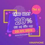 Vinaphone khuyến mãi ngày 20/9/2019 ưu đãi ngày vàng toàn quốc