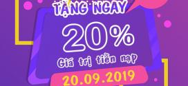 Vinaphone khuyến mãi ngày 20/9/2019 ưu đãi 20% giá trị tiền nạp từ 50.000đ