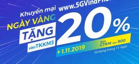 Khuyến mãi Vinaphone ngày 1/11/2019 ưu đãi NGÀY VÀNG trên toàn quốc