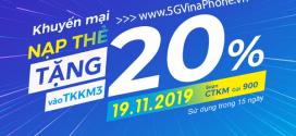 Khuyến mãi Vinaphone thứ 3 vui vẻ tặng 20% giá trị nạp tiền ngày 19/11/2019