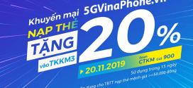 Khuyến mãi Vinaphone ngày 20/11/2019 ưu đãi 20% tiền nạp từ 50.000đ
