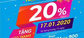 Khuyến mãi Vinaphone ngày 17/1/2020 ưu đãi 20% giá trị tiền nạp bất kỳ
