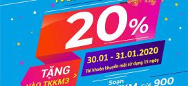 Khuyến mãi Vinaphone ngày 30/1 – 31/1/2020 tặng 20% giá trị tiền nạp