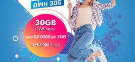 Đăng ký gói D30G Vinaphone ưu đãi 30GB (1GB/ngày) chỉ 90.000đ/tháng