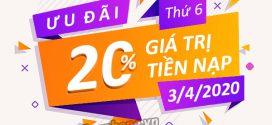 Vinaphone khuyến mãi ngày 3/4/2020 ưu đãi 20% giá trị nạp tiền/ nạp thẻ