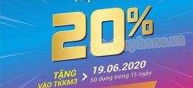 Vinaphone khuyến mãi ngày 19/6/2020 ưu đãi 20% tiền nạp từ 50.000đ