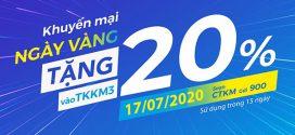 Khuyến mãi Vinaphone ngày 17/7/2020 ưu đãi 20% tiền nạp toàn quốc
