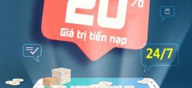 Vinaphone khuyến mãi ngày 24/7/2020 tặng 20% tiền nạp ngày vàng