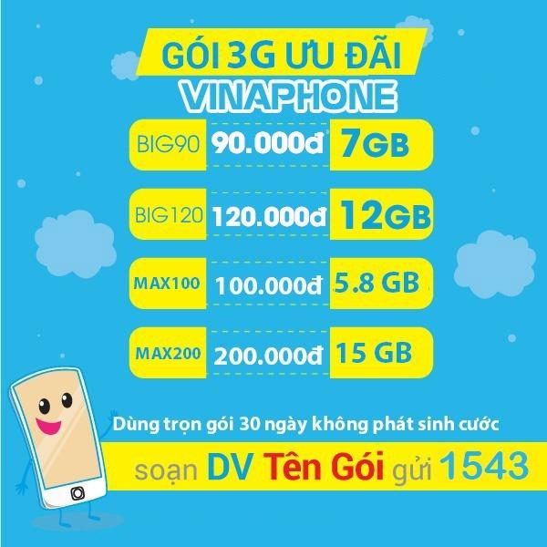 Ưu đãi 3GB data chỉ 15k khi đăng ký gói cước 3D5 Vinaphone
