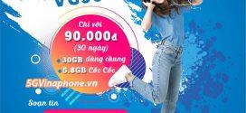 Đăng ký gói cước VC90 Vinaphone ưu đãi 35.8GB data chỉ với 90k