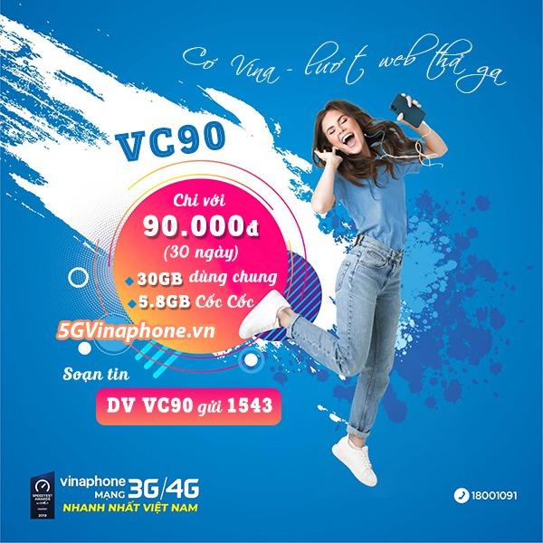 Hướng dẫn cách đăng ký gói cước VC90 Vinaphone nhận 35.GB DATA