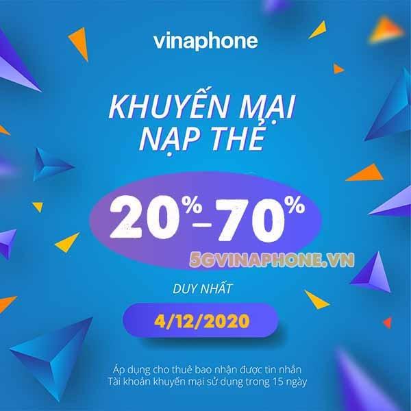 Vinaphone khuyến mãi ngày 4/12/2020 tặng 20%, 70% tiền nạp có điều kiện
