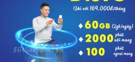 Đăng ký gói D169G Vinaphone chỉ 169K nhận 60GB data, 2100p gọi Free