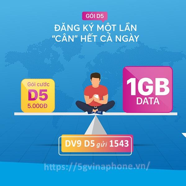 Đăng ký gói cước D5 Vinaphone nhận 1GB data chỉ 5.000đ/ngày