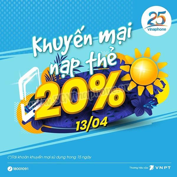Khuyến mãi Vinaphone ngày 13/4/2021 tặng 20% giá trị tiền nạp cục bộ