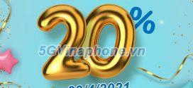 Khuyến mãi Vinaphone 23/4/2021 NGÀY VÀNG tặng 20% giá trị tiền nạp