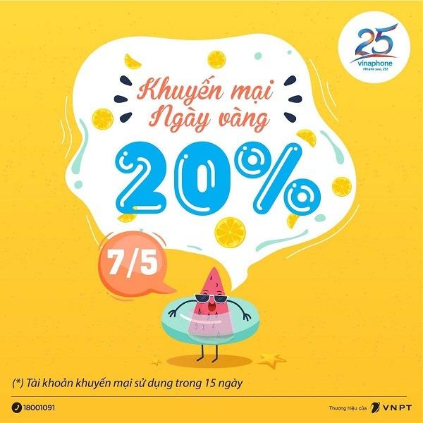 Vinaphone khuyến mãi ngày 7/5/2021 ưu đãi 20% giá trị tiền nạp toàn quốc
