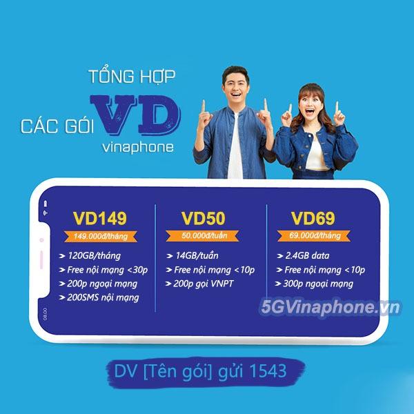 Tổng hợp các gói cước VD Vinaphone ưu đãi combo 3 trong 1