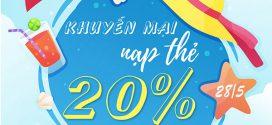 Vinaphone khuyến mãi ngày 28/5/2021 tặng 20% giá trị tiền nạp toàn quốc