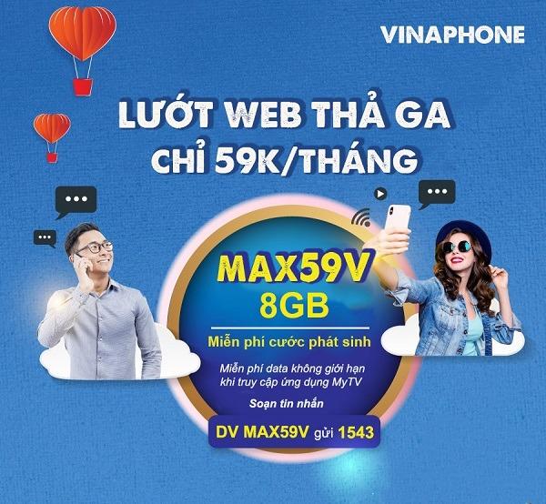 Đăng ký gói cước MAX59V vinaphone ưu đãi 8GB, Free data xem MY TV