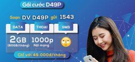 Đăng ký gói D49P Vinaphone chỉ 49K Free data + Gọi thoại cả tháng