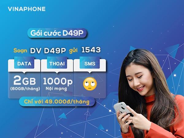 Đăng ký gói cước D49P Vinaphone nhận data và gọi free thả ga