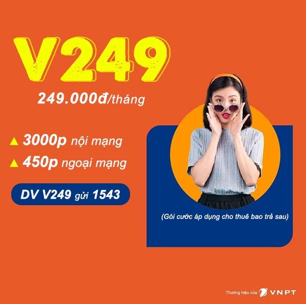 Đăng ký gói cước V249 Vinaphone miễn phí 3450p gọi Free