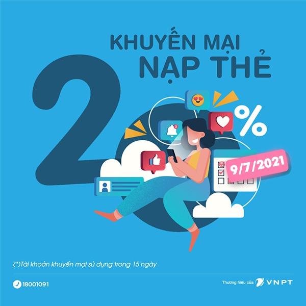 Khuyến mãi Vinaphone 9/7/2021 ưu đãi 20% giá trị tiền nạp toàn quốc