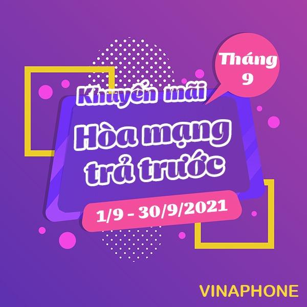 Vinaphone khuyến mãi hòa mạng trả trước tháng 9/2021