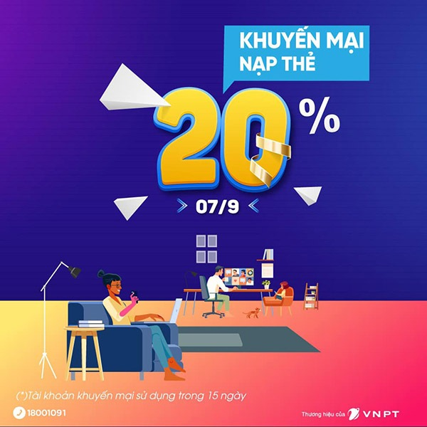 Vinaphone khuyến mãi ngày 7/9/2021 ưu đãi 20% giá trị tiền nạp bất kỳ